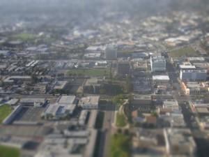 飛行機からバンクーバーを撮影