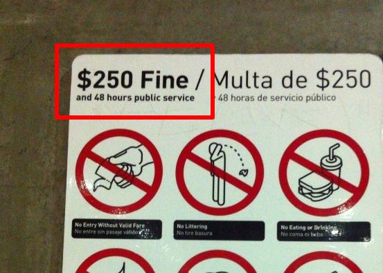 aaaaaaaao0553039512231040847 電車でガムを噛んでいたら罰金250ドルいただきました
