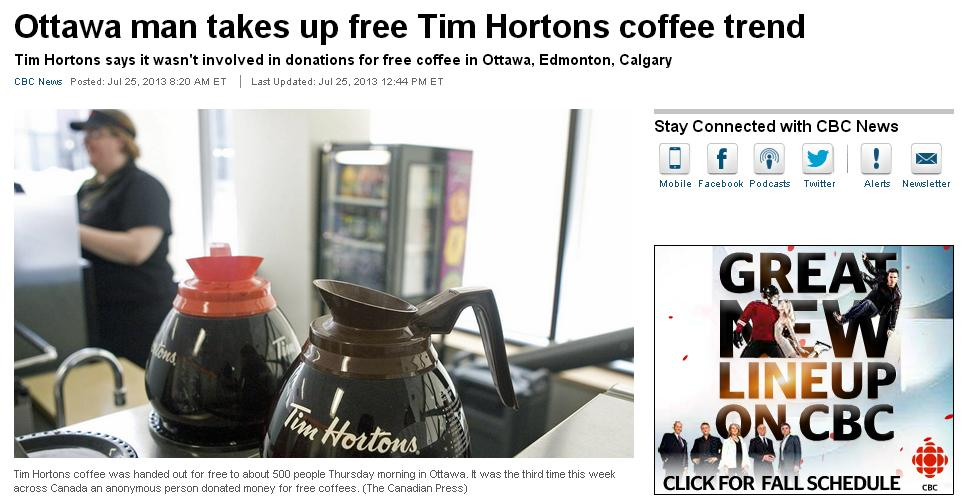 tim h カナダで数百人にコーヒーをおごる事件が発生中